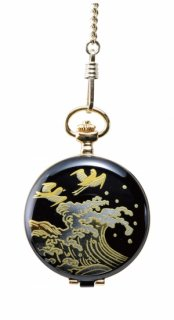 日本伝統技法・蒔絵【MADE IN JAPAN】MAKI-E Pocket Watch /蒔絵 懐中時計 桐箱入り 浪に千鳥