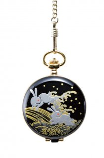 日本伝統技法・蒔絵【MADE IN JAPAN】MAKI-E Pocket Watch /蒔絵 懐中時計 桐箱入り 白兎