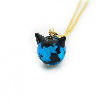 深海ブルーねこ玉ペンダント  12mm 猫玉 ネコ玉 チェーンペンダント ゴールド【APN3588SBG】