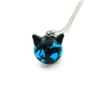 深海ブルーねこ玉ペンダント 12mm 猫玉 ネコ玉 チェーンペンダント ロジウム【APN3588SBR】