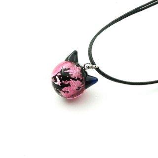 夜桜ピンクねこ玉ペンダント 16mm 猫玉 ネコ玉  2連紐ペンダント ロジウム【APN3608YPR】