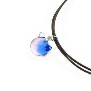 カクテルガラスねこ玉ペンダント (ブルー&ピンク)12mm 2連紐ペンダント 猫玉・ネコ玉 ロジウム【APN3607BLPR】