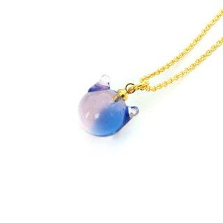 カクテルガラスねこ玉ペンダント (ブルー&ピンク)10mm 猫玉 ネコ玉 チェーン ゴールド【APN3749BLPG】