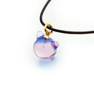 カクテルガラスねこ玉ペンダント (ブルー&ピンク)10mm 猫玉 ネコ玉 紐ペンダント  【APN3761BLPG】
