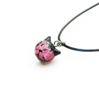 夜桜ピンクねこ玉ペンダント  10mm 猫玉 ネコ玉 紐ペンダント ロジウム【APN3761YPR】