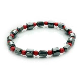 赤玉磁気ヘマタイト(チューブカット)ブレスレット ゴムブレス ジキ レッド【AAL1181RD】