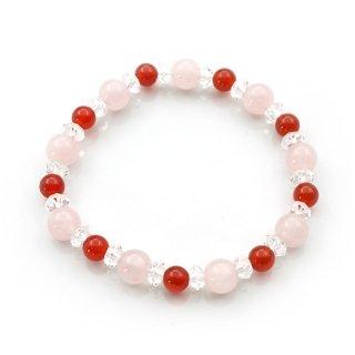 紅水晶×赤メノーブレスレット 水晶 ゴムブレスレット 瑪瑙 メノウ ローズクォーツ【AAL458806】