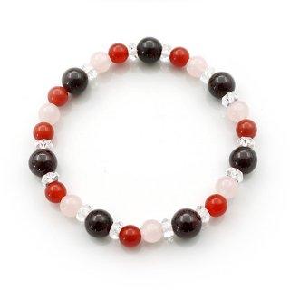 ガーネット×赤メノー×紅水晶のブレスレット ゴムブレスレット ローズクォーツ メノウ 瑪瑙【AAL367552】