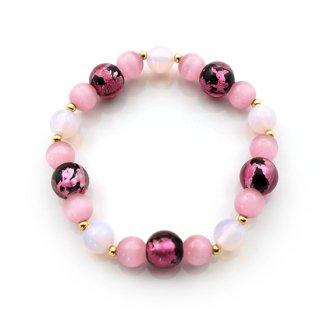 夜桜ピンク®とんぼ玉ブレスレット シンセチックオパール クリスタルキャッツアイ ゴムブレス【AAL4452YPCRA】
