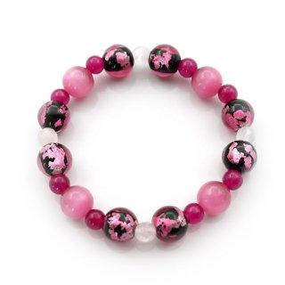 夜桜ピンク®とんぼ玉ブレスレット クリスタルキャッツアイ ぶどう玉 紅水晶 ゴムブレス【AAL5309YPB】