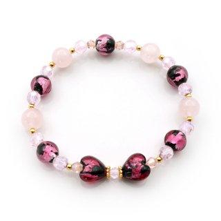 夜桜ピンク®とんぼ玉リボンブレスレット ハート 紅水晶 ゴムブレス りぼん【AAL5946YPA】