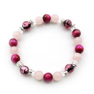 夜桜ピンクとんぼ玉ブレスレット 染ピンクタイガアーアイ 紅水晶 水晶 ゴムブレス【AAL6863YP】