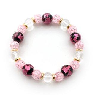 夜桜ピンクとんぼ玉ブレスレット クラックアクリル 水晶 ゴムブレスレット【AAL5121YPD】