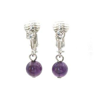 アメジストイヤリング  紫水晶 ラインストーン バネ式 6mm【AEA040807】