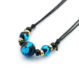 深海ブルーとんぼ玉ネックレス 3粒  紐調節ネックレス【AAN1777SBAG】