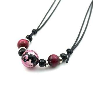 夜桜ピンクとんぼ玉ネックレス 3粒 染ピンクタイガーアイ  紐調節ネックレス【AAN1777YP15】
