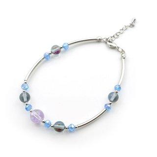 青龍水晶(紫彫)ブレスレット  レインボーガラス パイプ  ブレス  カットビーズ バングル風【AAL6316VODG】