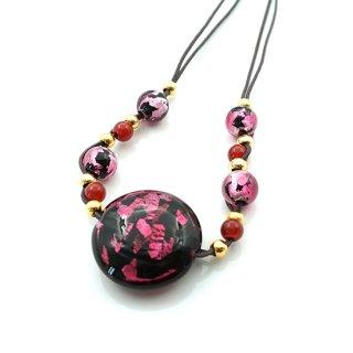 夜桜ピンクとんぼ玉ネックレス 大粒 コイン 平丸  赤メノー ロングネックレス【AAN2222YPG】