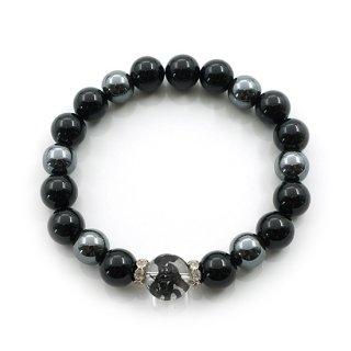 白虎水晶(黒彫)ブレスレット  オニキス  ヘマタイト ゴムブレスレット メンズ【AAL2187TG】