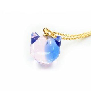 カクテルガラスねこ玉ペンダント (ブルー&ピンク) 12mm 猫玉 ネコ玉 チェーンペンダント ゴールド【APN3588BLPG】