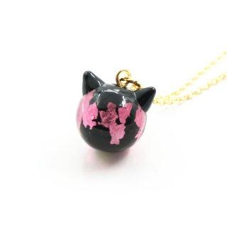 夜桜ピンクねこ玉ペンダント  12mm 猫玉 ネコ玉 チェーンペンダント ゴールド【APN3588YPG】