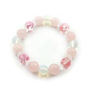 四神水晶(ピンク彫)ブレスレット   紅水晶 シンセチックオパール  青龍 白虎 玄武 朱雀【AAL632306】