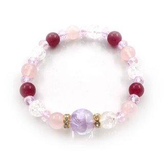朱雀水晶(紫彫)ブレスレット  紅水晶 クラック水晶 ぶどう玉 カットビーズ ロンデル【AAL6263BD】