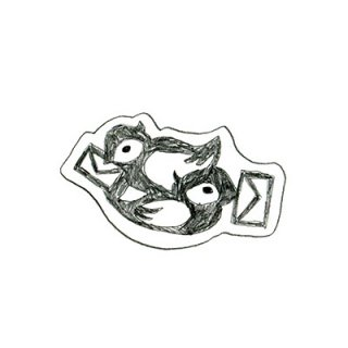 木版画文香「トリ2羽」