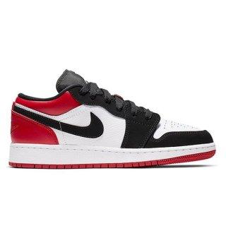 NIKE AIR JORDAN 1 LOW GS BLACK TOE WHITE/BLACK-GYM RED
