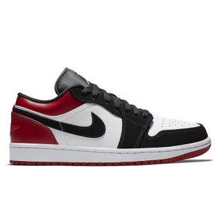 NIKE AIR JORDAN 1 LOW BLACK TOE WHITE/BLACK-GYM RED