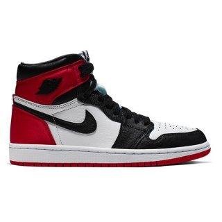 NIKE WMNS AIR JORDAN 1 SATIN BLACK TOE BLACK/BLACK-WHITE-VARSTIY RED