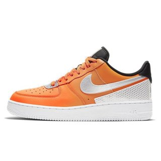 NIKE AIR FORCE 1 07 LV8 3M TOTAL ORANGE METALLIC SILVER BLACK