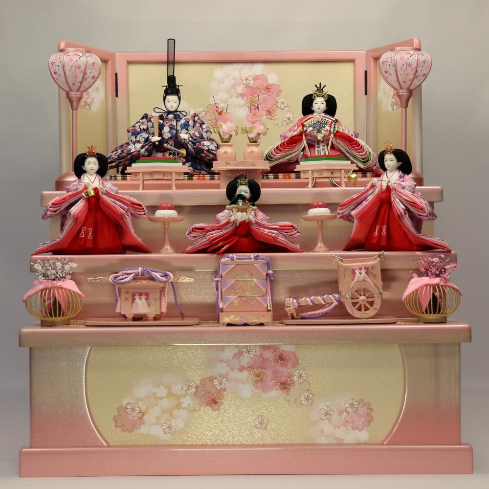 【収納三段五人飾り】春園 ホワイトピンク