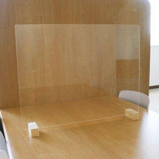 衝立 パーティション 日本製 透明 樹脂板 仕切り 板 ウイルス 対策 予防 感染 飛沫 防止 ガード パネル L サイズ 68 × 50 cm レギュラー スタンド 木製 脚【代引不可】