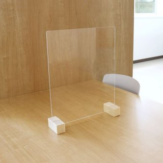衝立 パーティション 日本製 透明 樹脂板 仕切り 板 ウイルス 対策 予防 感染 飛沫 防止 ガード パネル M サイズ 52 × 40 cm レギュラー スタンド 木製 脚【代引不可】