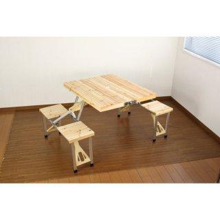 木製 アウトドアテーブル/レジャー用品 【約幅140cm】 折りたたみ可 チェア付き パラソル対応 耐水性 耐油性 スチール 完成品