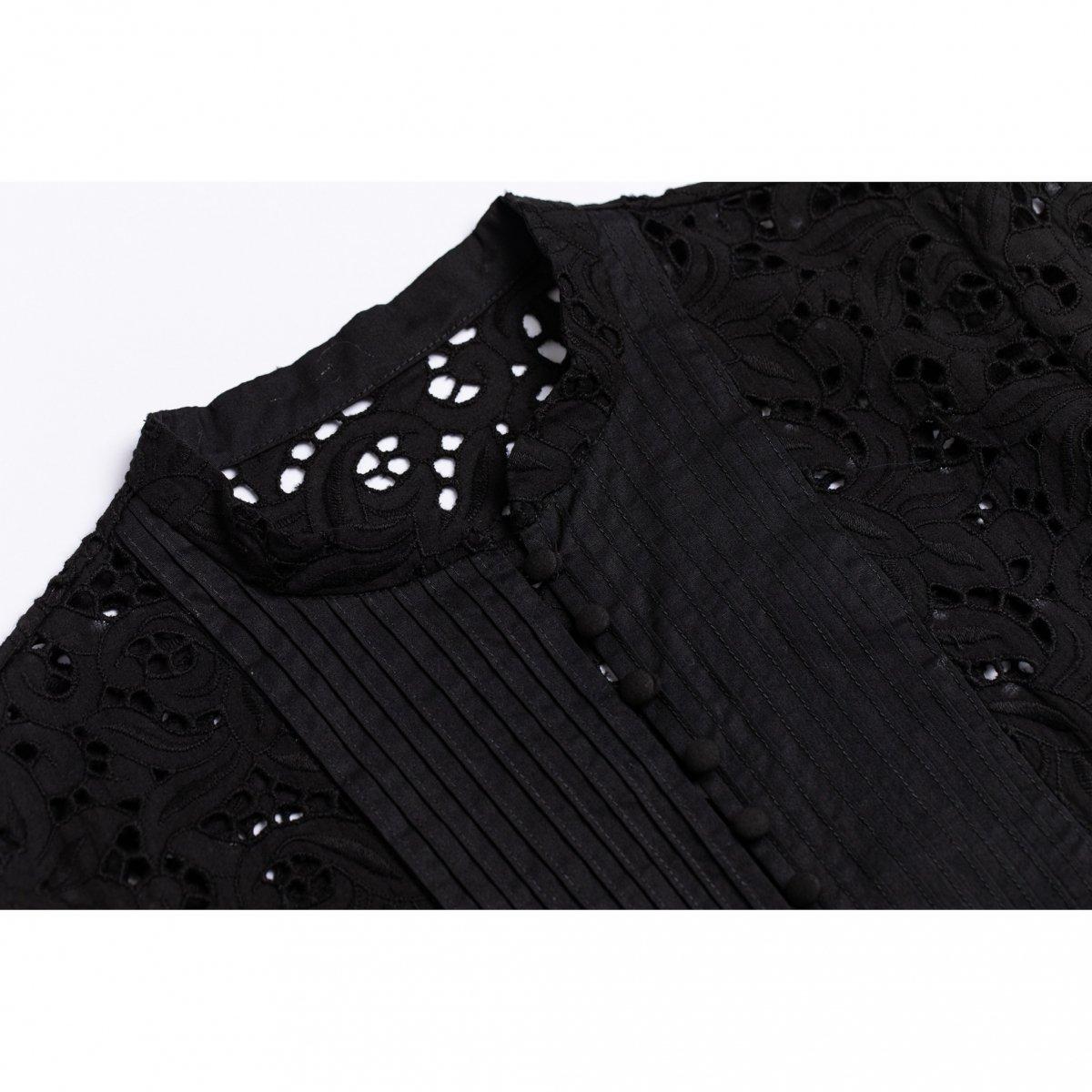 ボリュームスリーブレースシャツ(ブラック)