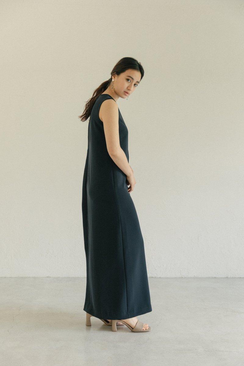 サイドプリーツドレス(ネイビー)