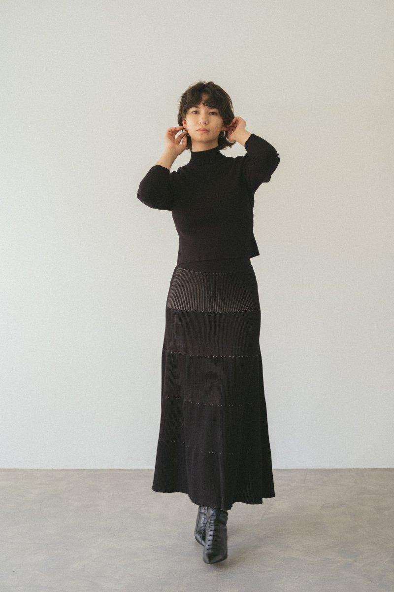 ニットプリーツスカート(ブラック)