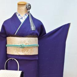 無地振袖 紫 加賀紋 ★裄長め インスタ掲載コーデ