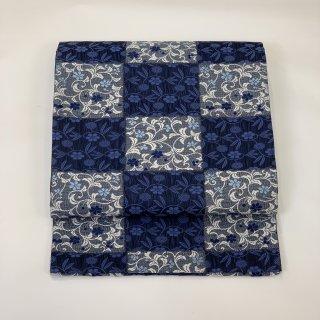新品未仕立て 袋帯 風通織 藍染糸 佐々木 西陣
