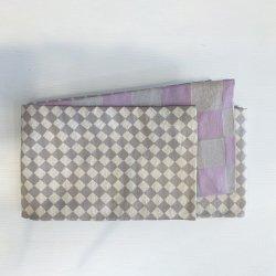 しじら半巾帯 ダイヤ/市松 グレー/薄紫×銀