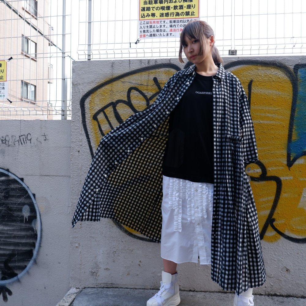 ー【DESPERADO+MAS】 gingham check see-through dress (COLOR : BLACK)