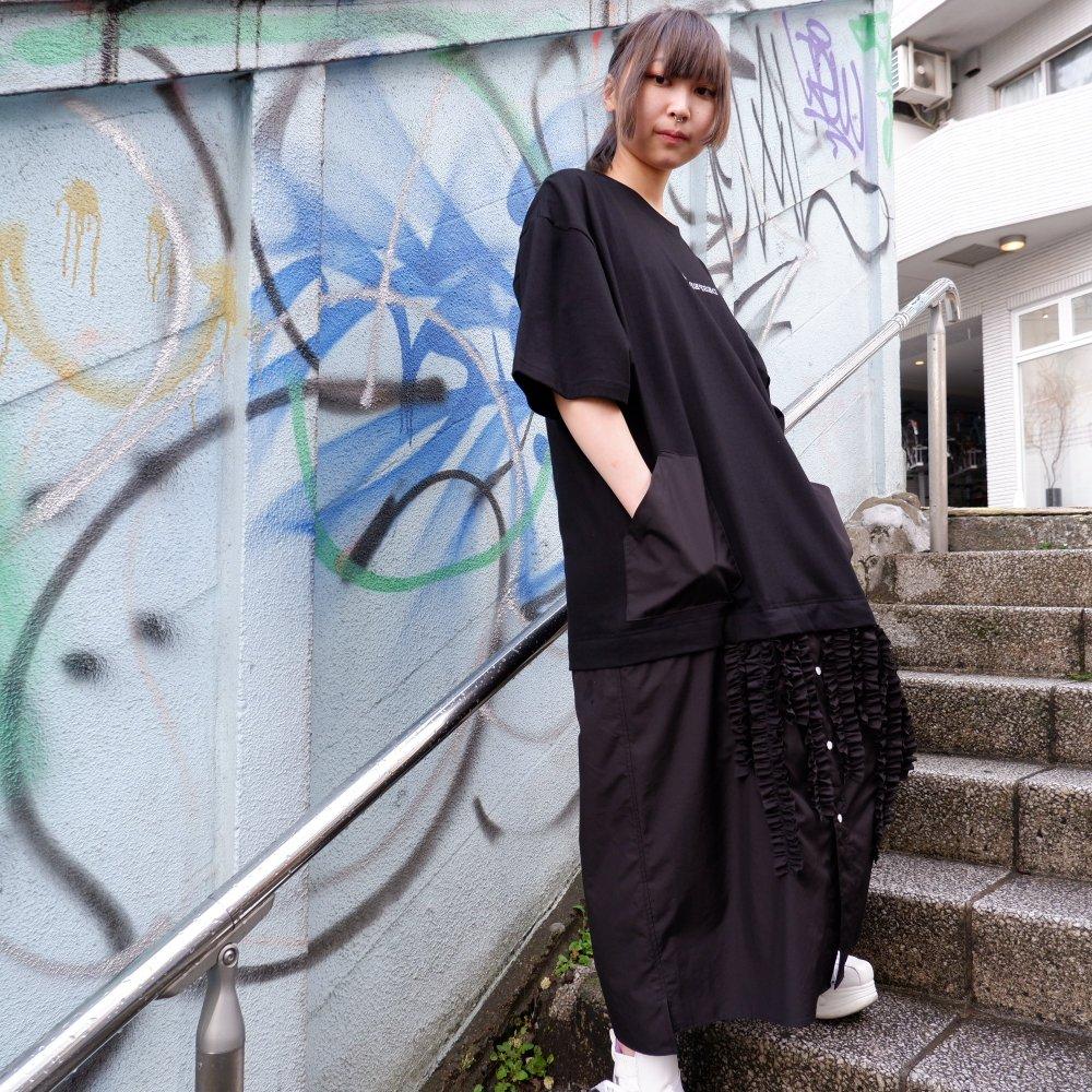 +【DESPERADO+MAS】FRILL T-SHIRT DRESS(Color: STRIPE / WHITE / BLACK)