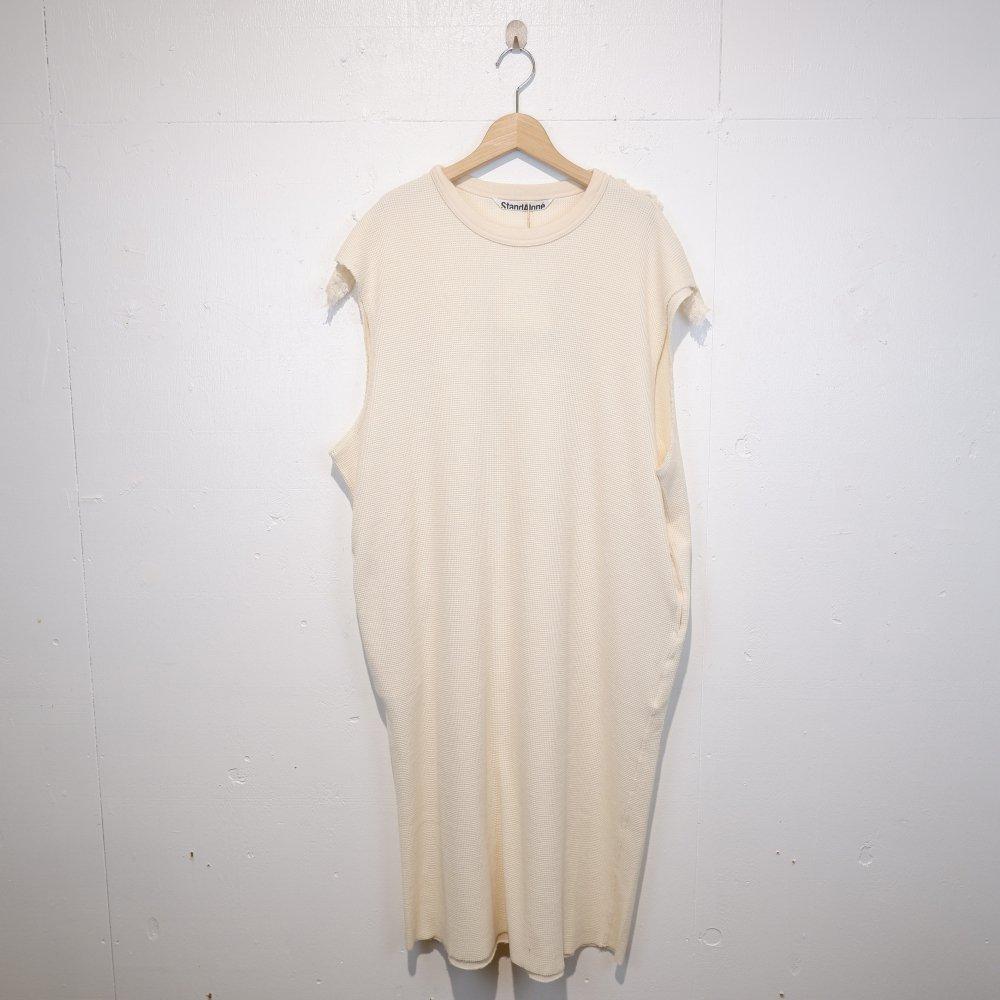 +【STANDALONE】WAFFLE JERSEY FRINGE DRESS