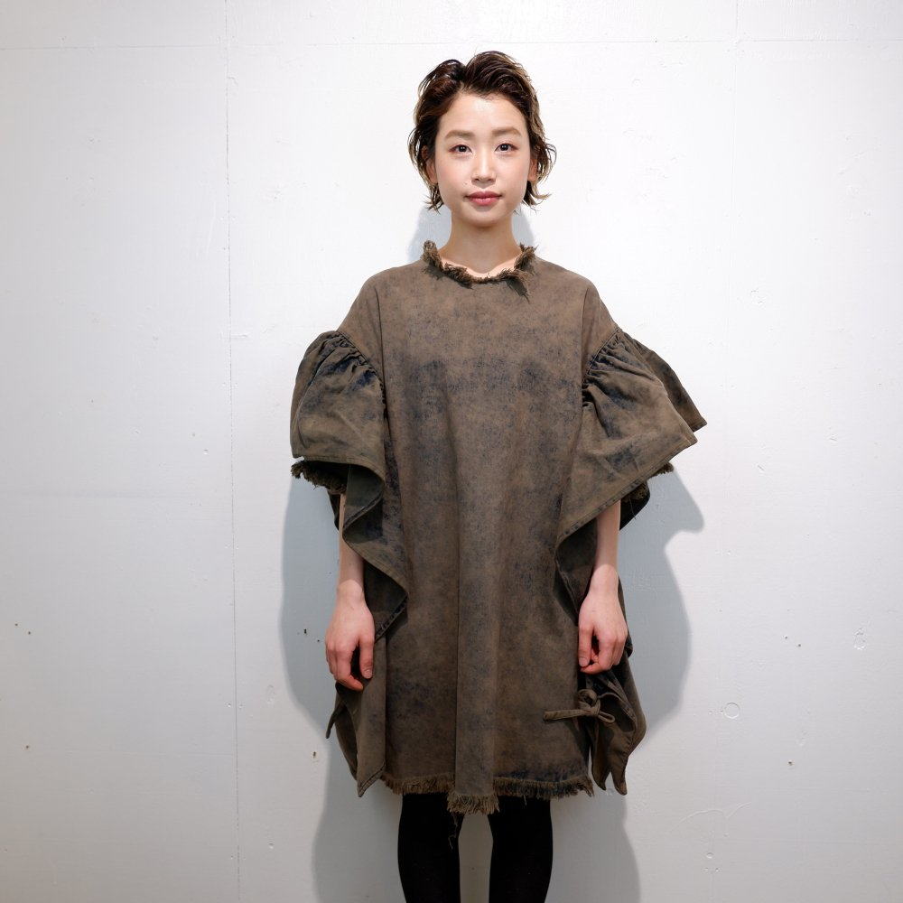 ー【MARQUES ALMEIDA】OVERSIZED T-SHIRT DRESS WITH FLOUNCE SLEEVES