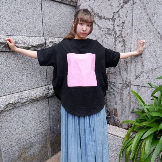 【RIDDLEMMA】Circle print T-shirt BK×BABY PK