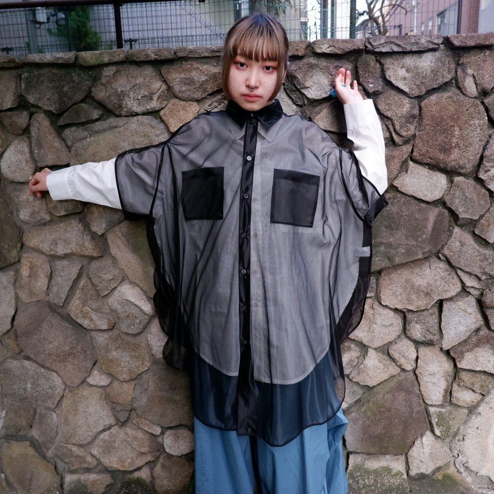 【RIDDLEMMA】Circle organdy shirt Φ100 BLACK