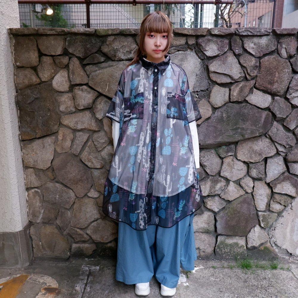 【RIDDLEMMA】Circle organdy print shirt Φ100 MULTI COLLOR