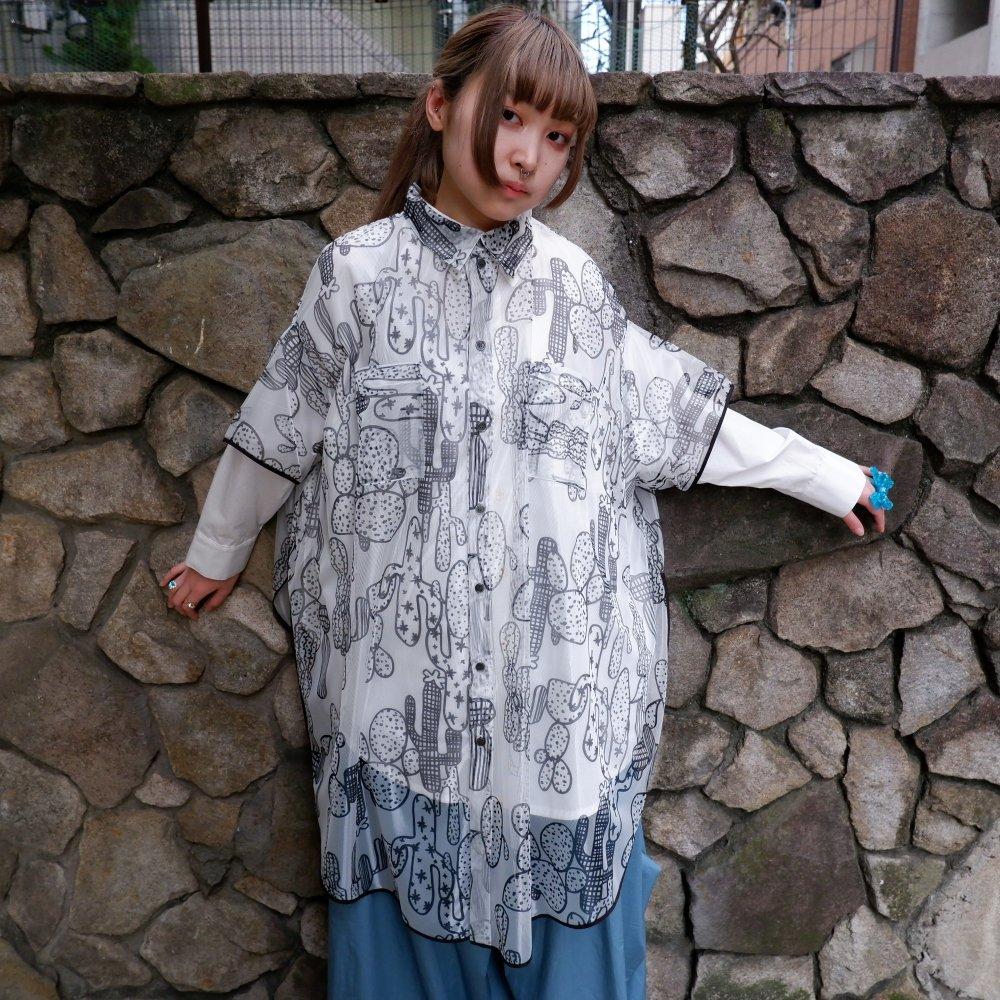 【RIDDLEMMA】Circle organdy print shirt Φ100 MONO